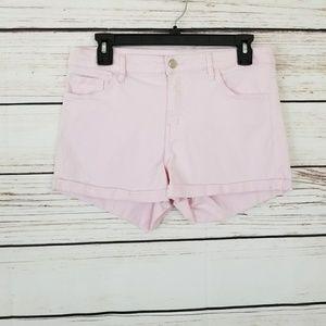 H&M Light Pink Denim Cuff Midrise Shorts